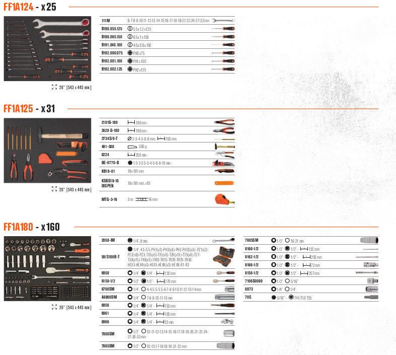 wózek narzędziowy 7-szufladowy z wyposażeniem 216 narzędzi Bahco [1472K7BKFF15SD]