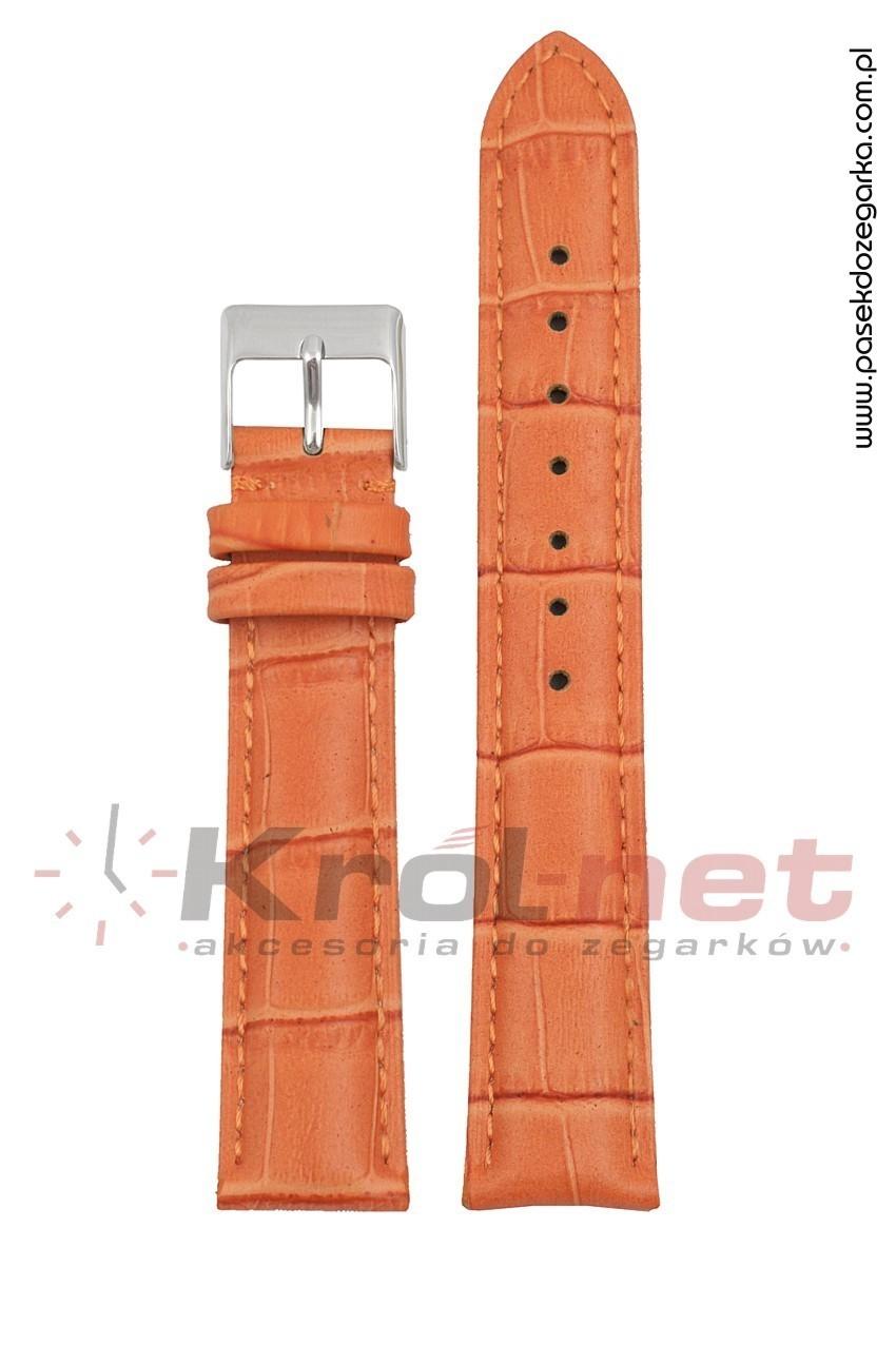 Pasek Tekla TK110P/16 - pomarańczowy, faktura krokodyla