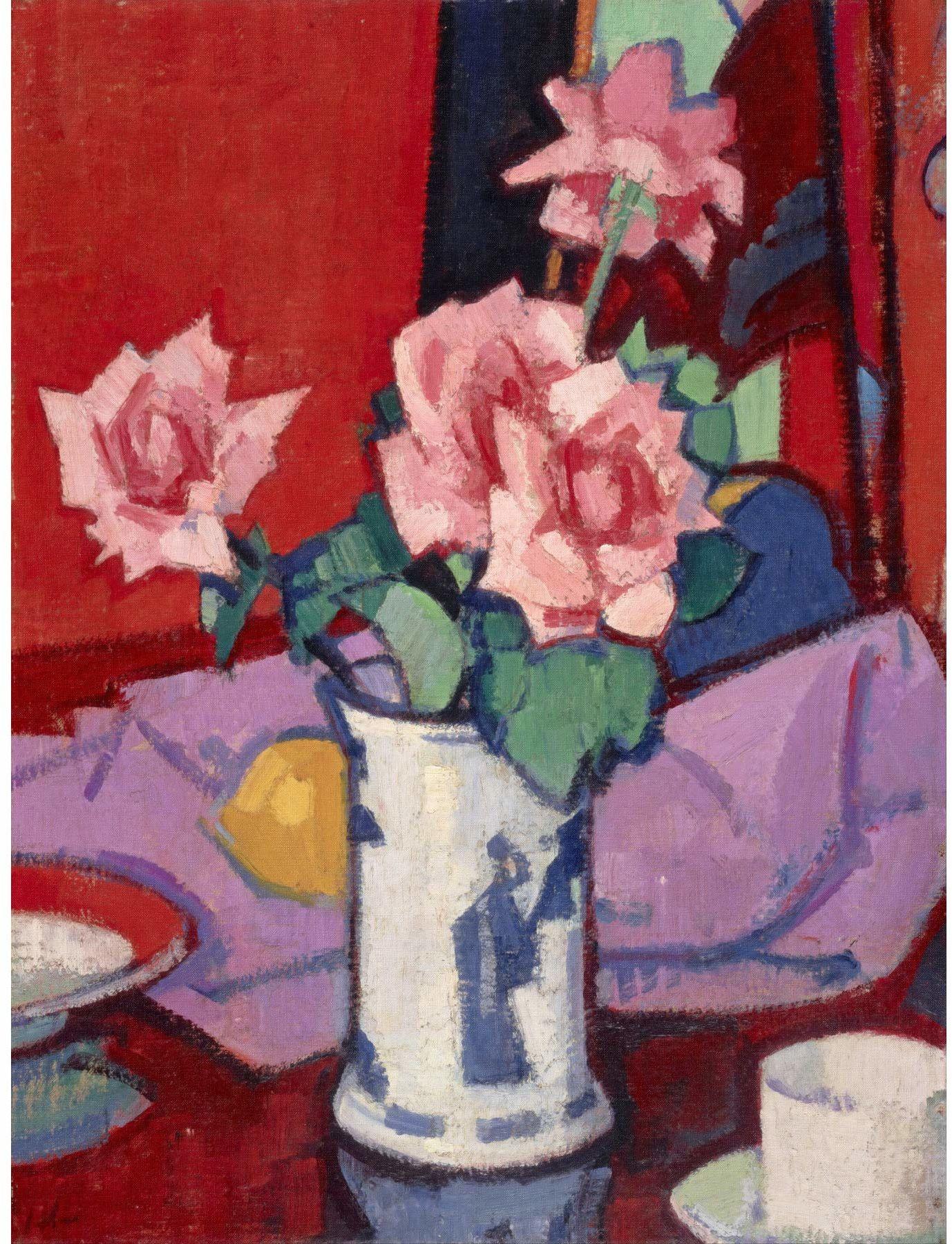 Wee Blue Coo Peploe różowe róże chiński wazon artystyczny wydruk plakat Hp3936