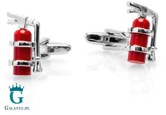 Spinki do mankietów dla strażaka - czerwona gaśnica x2 psn135