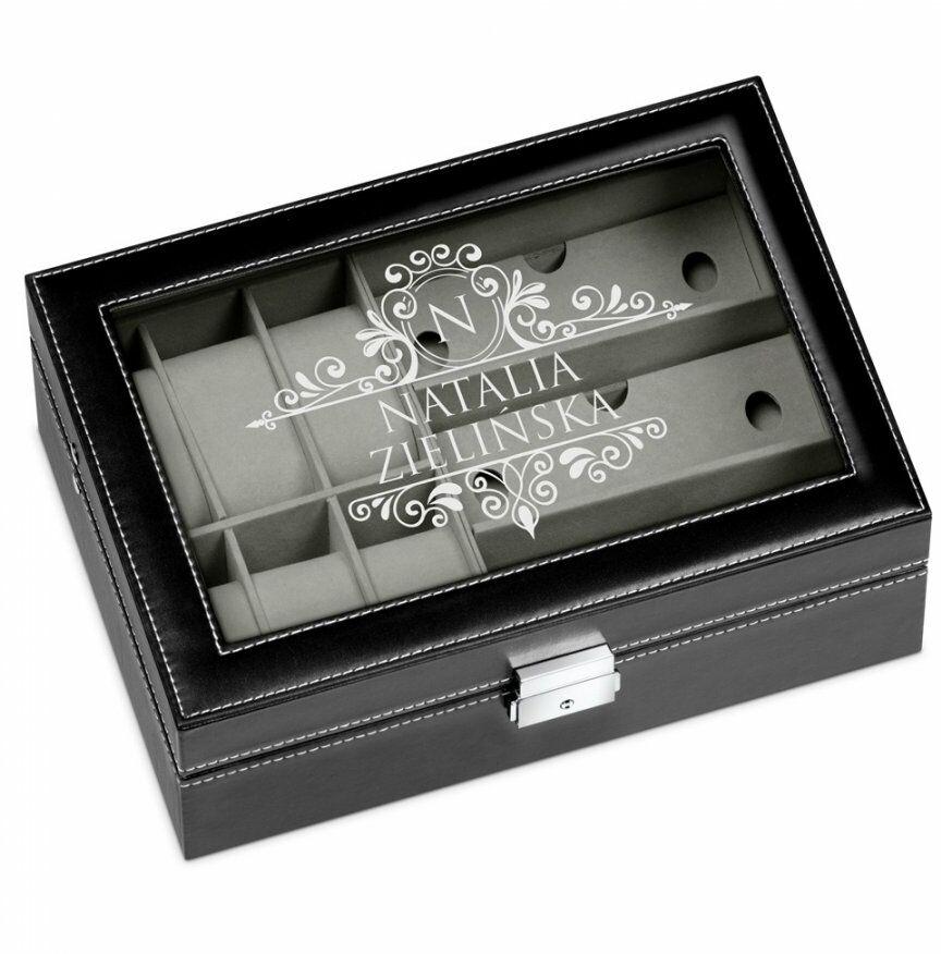 Szkatułka czarna na zegarki i okulary z grawerem dla niej singielki
