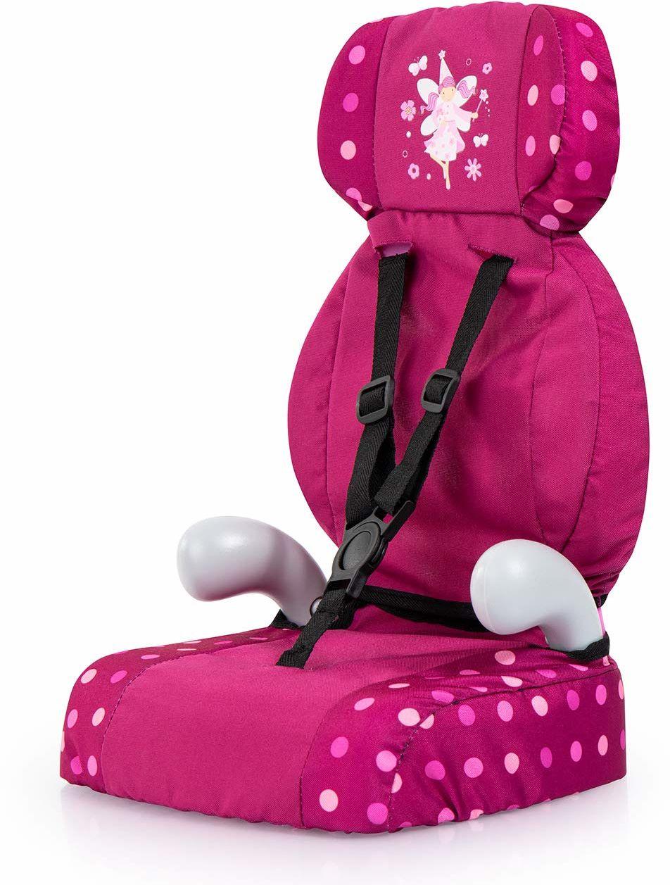 Bayer Design 67567AA Deluxe fotelik samochodowy, akcesoria dla lalek, zabawka dla chłopców i dziewcząt, bordowy, wróżka ze wzorem