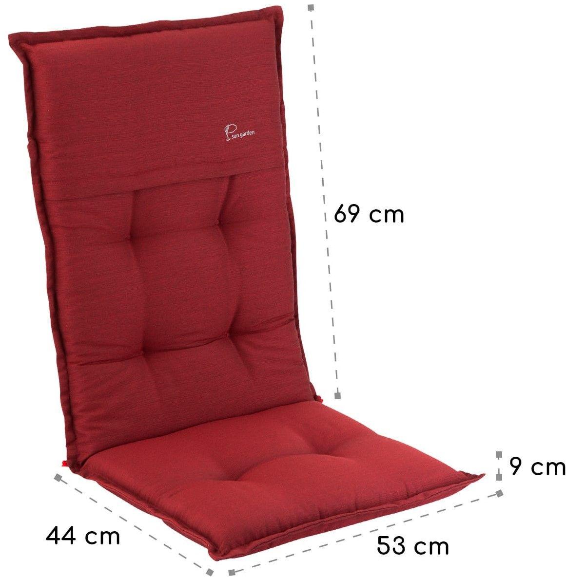 Blumfeldt Coburg, nakładki na krzesła ogrodowe z wysokim oparciem, poduszki na fotele, poliester, 53x117x9cm