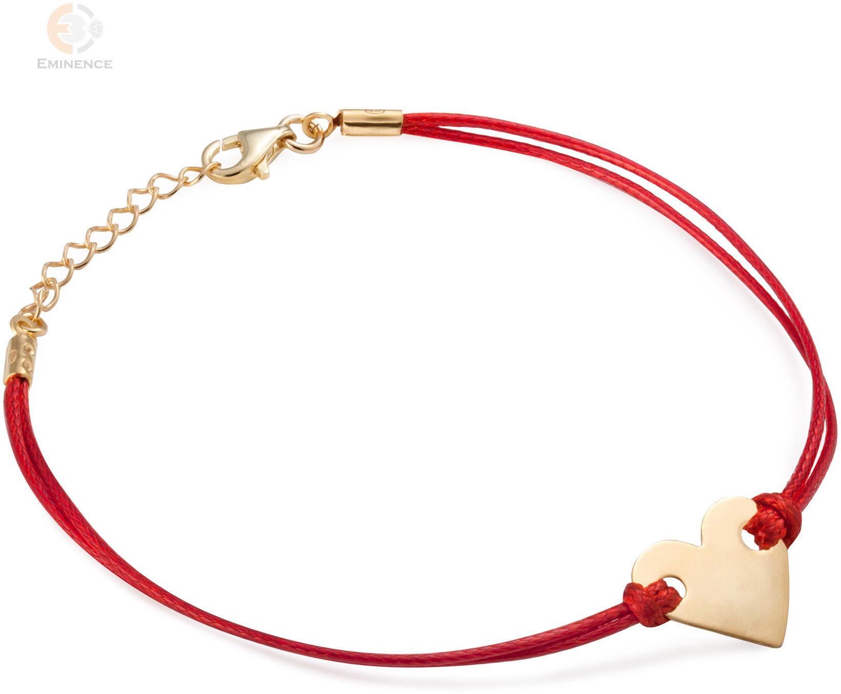 Bransoletka sznurkowa ze srebra pozłacanego blaszka serce
