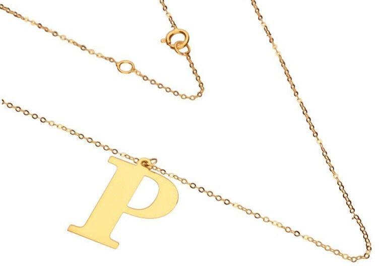 Złoty naszyjnik 585 łańcuszek z literką P 1,60 g