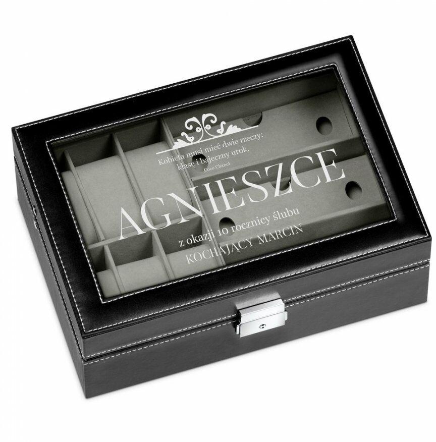 Szkatułka czarna na zegarki i okulary z grawerem dla niej na 10