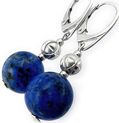 Lapis Lazuli Piękne Kolczyki Srebro
