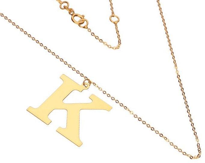 Złoty naszyjnik 585 łańcuszek z literką K 1,87 g