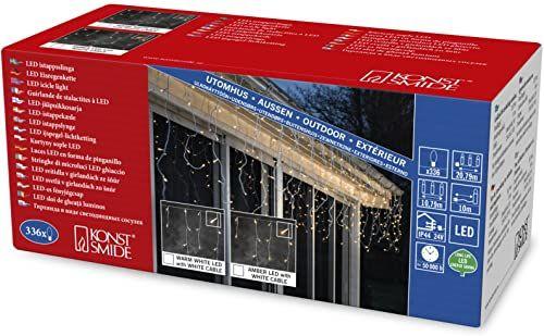 Konstsmide 2773-802 LED lodowy deszcz kurtyna świetlna / na zewnątrz (IP44) / 336 diod w kolorze bursztynowym / transformator zewnętrzny 24 V / biały kabel