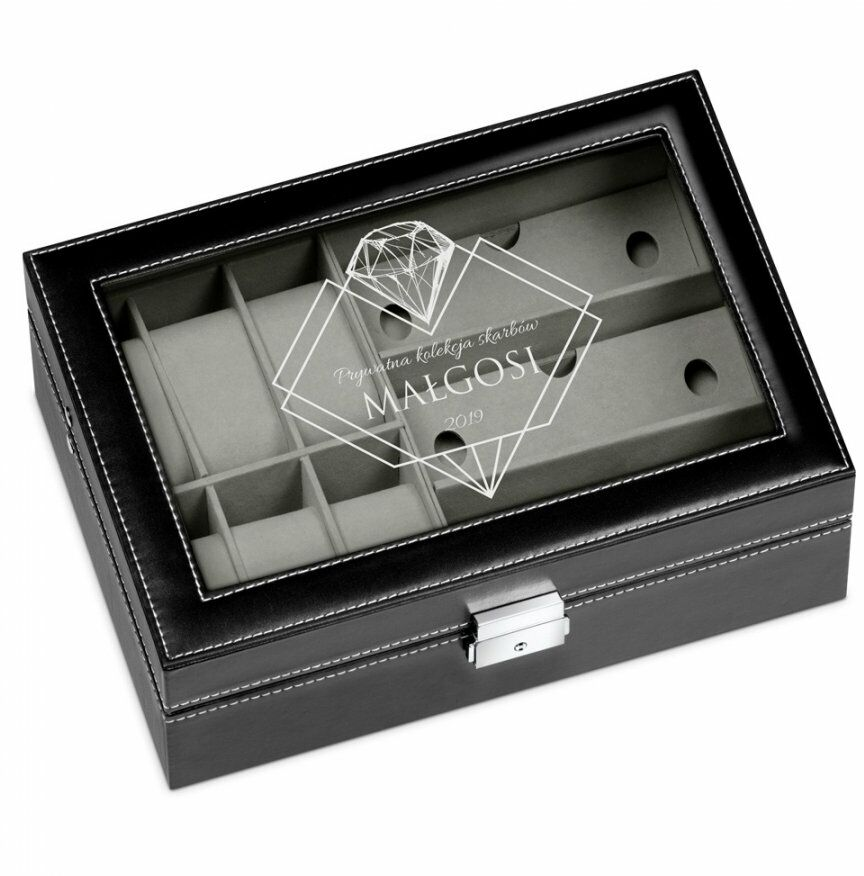 Szkatułka czarna na zegarki i okulary z grawerem dla niej na imieniny