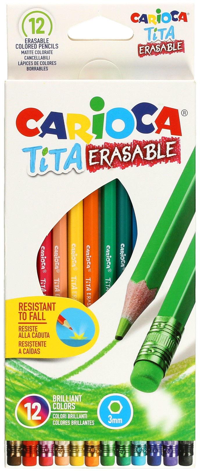 Kredki ołówkowe z gumką 12kol wymazywalne Carioca Tita