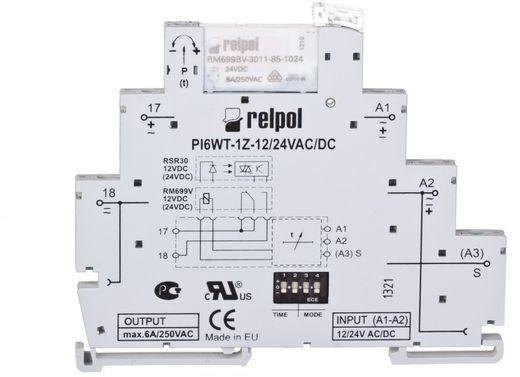 Przekaźnik czasowy wąskoprofilowy wielofunkcyjny 1Z 6A 1sek-10dni 24V AC/DC PIR6WT-1Z-24VAC/DC-R 857666