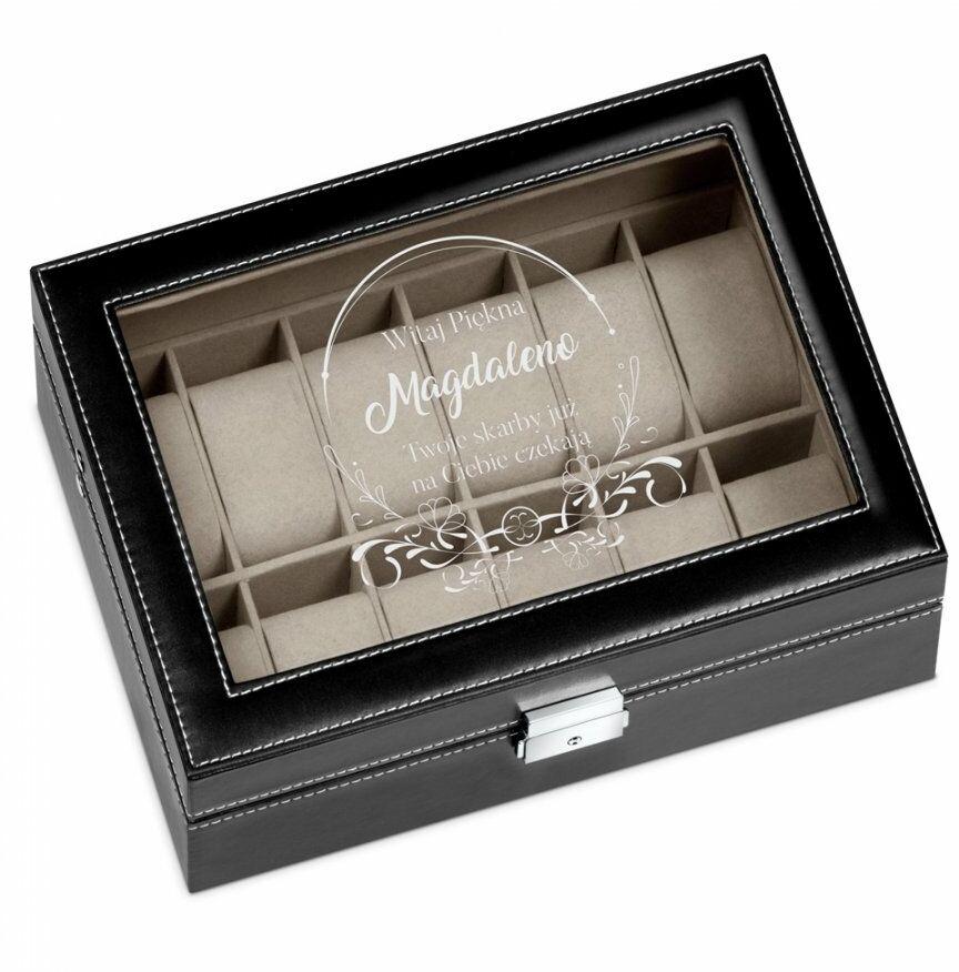Szkatułka czarna kuferek na zegarki z grawerem dla niej na Dzień K