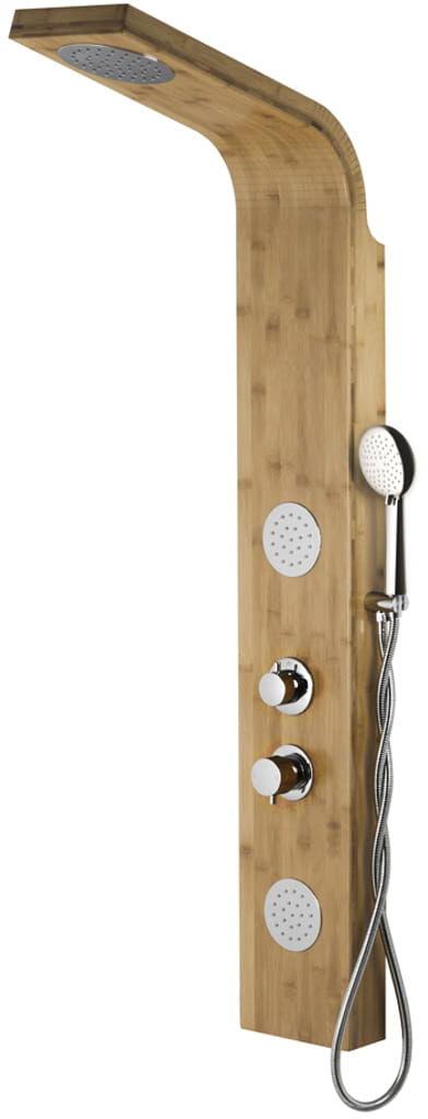 Corsan drewniany panel prysznicowy z termostatem chrom Bali B-231 T