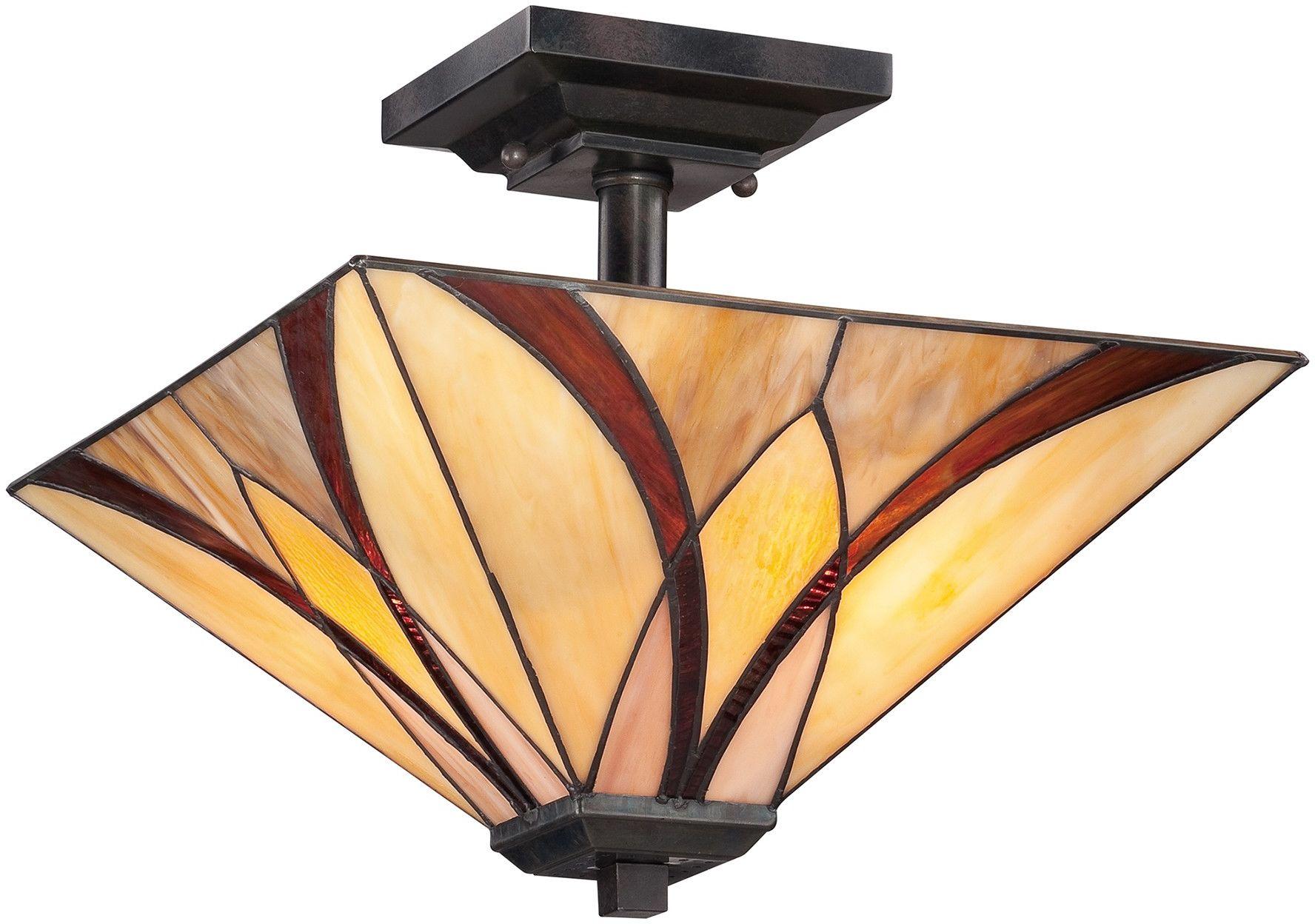 Asheville lampa sufitowa witrażowa tiffany QZ-ASHEVILLE-SF - Quoizel // Rabaty w koszyku i darmowa dostawa od 299zł !