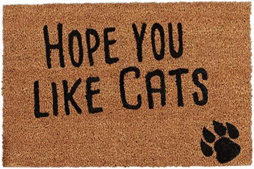 Relaxdays, Naturalna wycieraczka z sentencją, Hope You Like Cats, motyw kota, włókna kokosowe, na zewnątrz i wewnątrz, wycieraczka 40 x 60 cm, standardowa