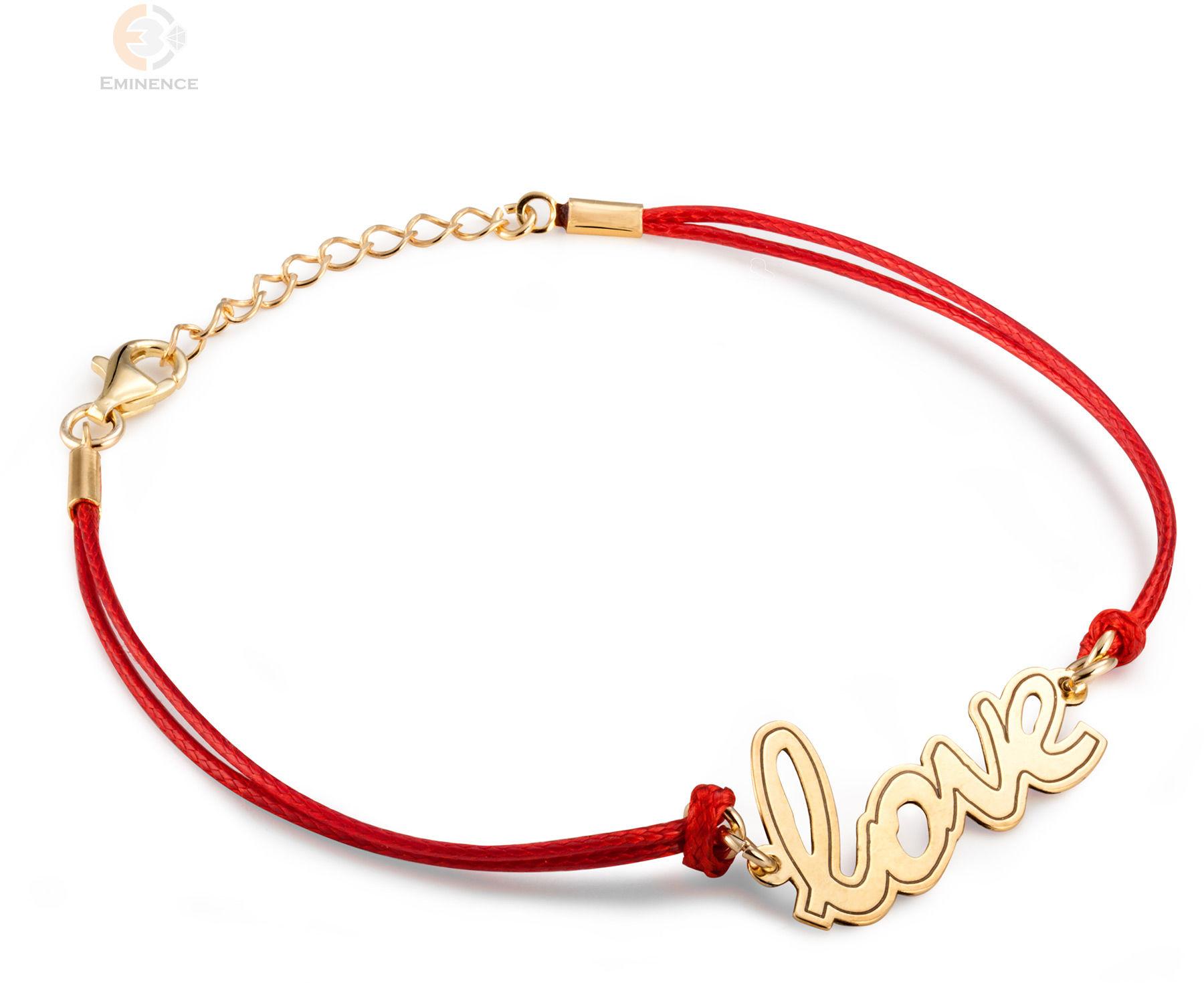 Bransoletka sznurkowa ze srebra pozłacanego napis LOVE