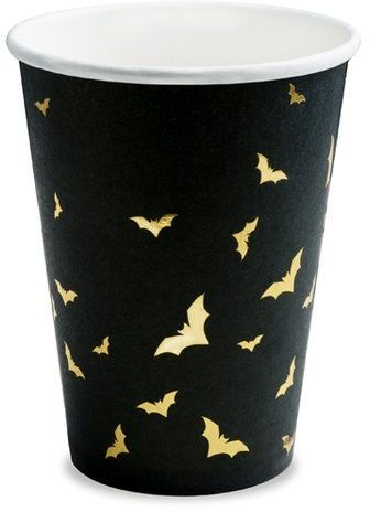 Kubeczki papierowe na Halloween złote Nietoperze 220ml 6 sztuk KPP20