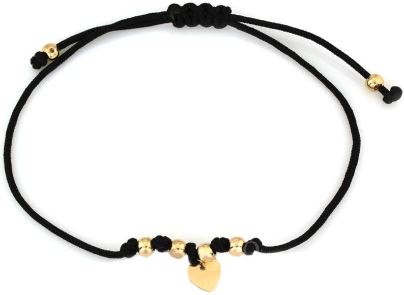 Złota bransoletka 585 sznurkowa z sercem