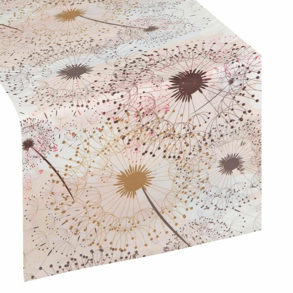 Obrus bieżnik Alva 35x140 dmuchawce kwiaty morelowy brązowy wielokolorowy Eurofirany