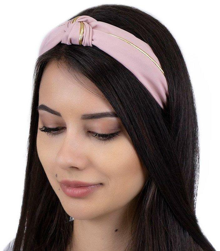 Opaska do włosów różowa węzeł turban pin up