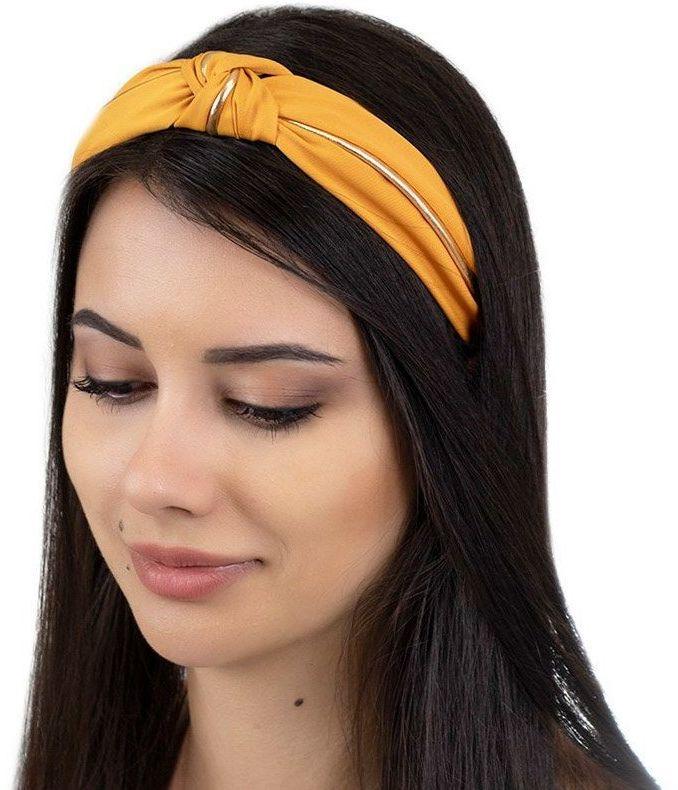 Opaska do włosów musztardowa węzeł turban pin up