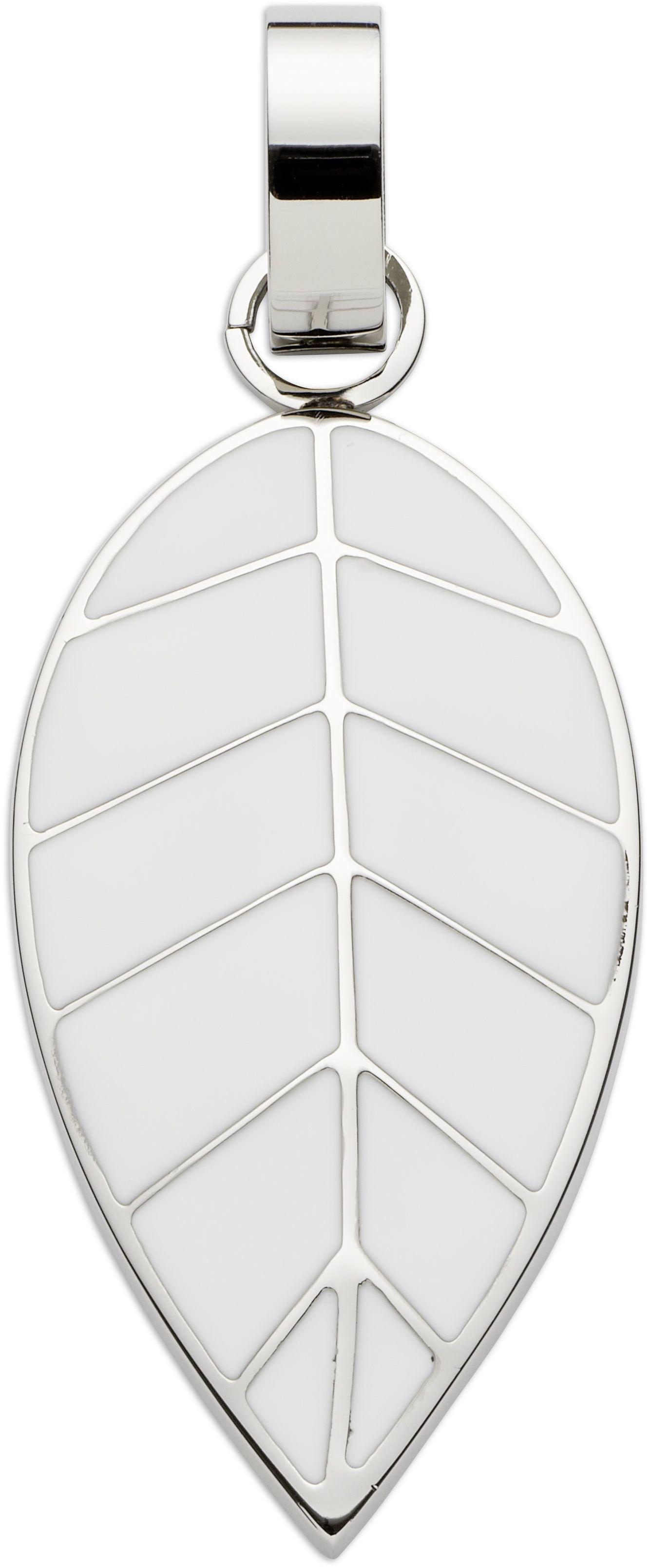 wisiorek/zawieszka magnetyczna 2504-1 liść z białą emalią