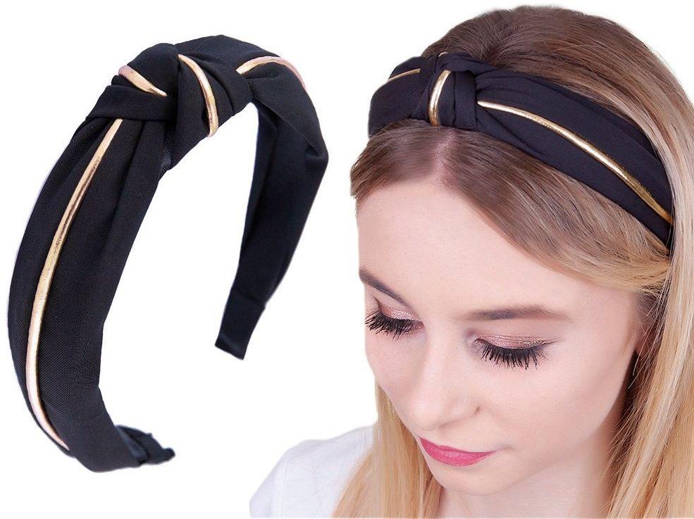 Opaska do włosów czarna węzeł turban pin up