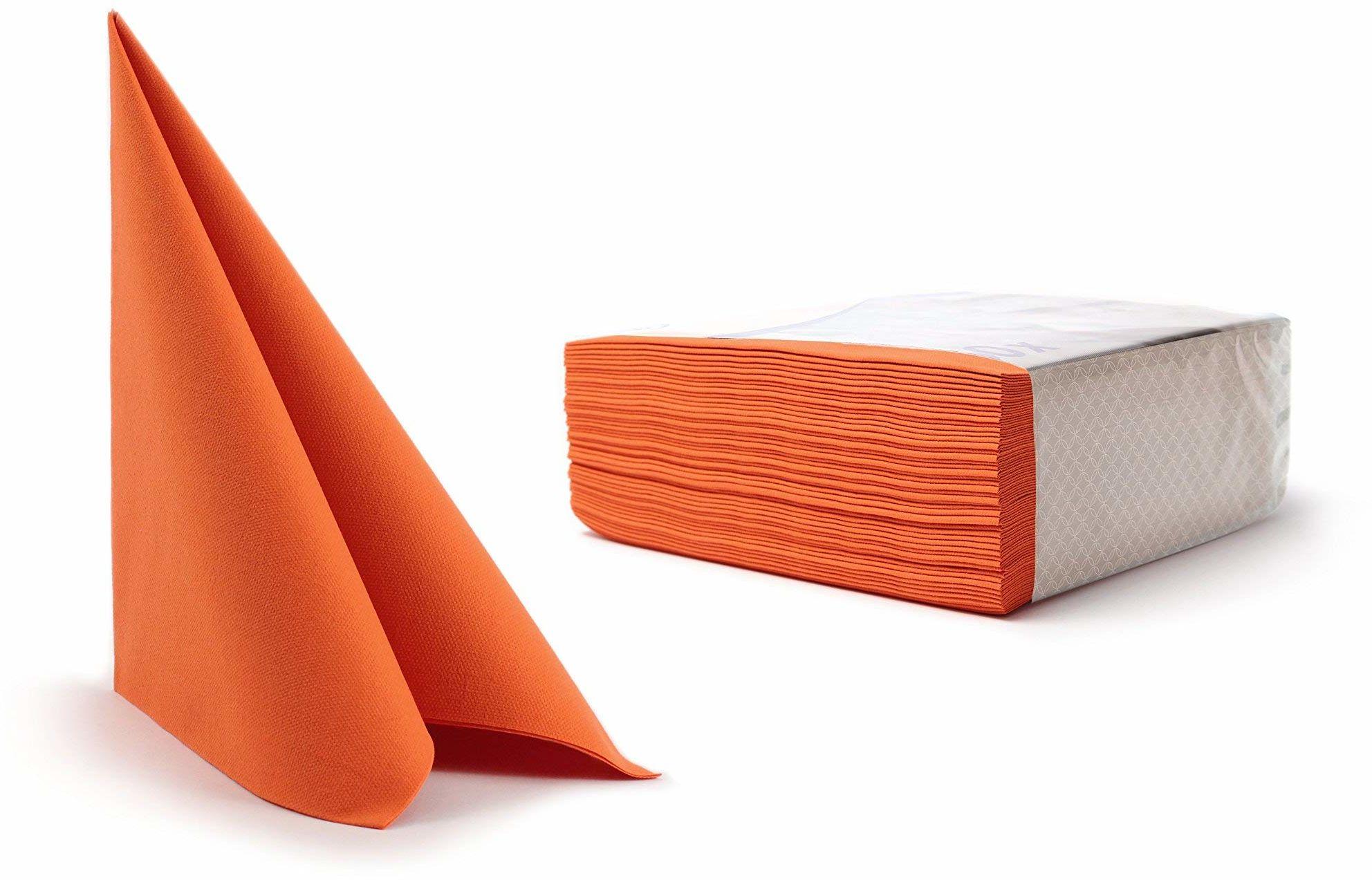 Alvotex CHIC Airlaid 50 serwetki, tkaninopodobne wysokiej jakości, serwetki jednorazowe, pomarańczowe, 40 x 40 cm