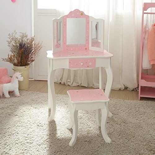 Teamson Kids TD-11670Q stół dziecięcy i taboret z lustrem, różowy/biały/złoty