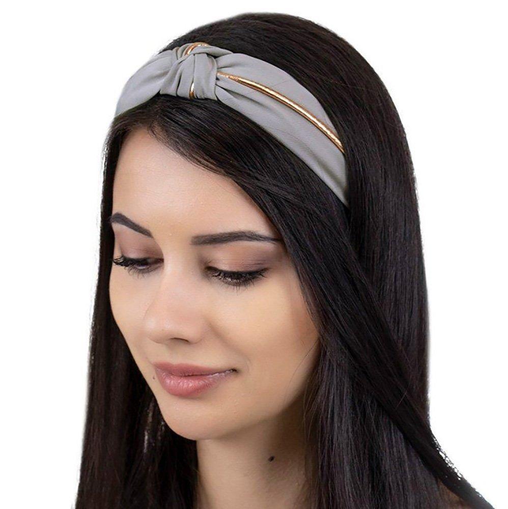 Opaska do włosów węzeł turban pin up szara