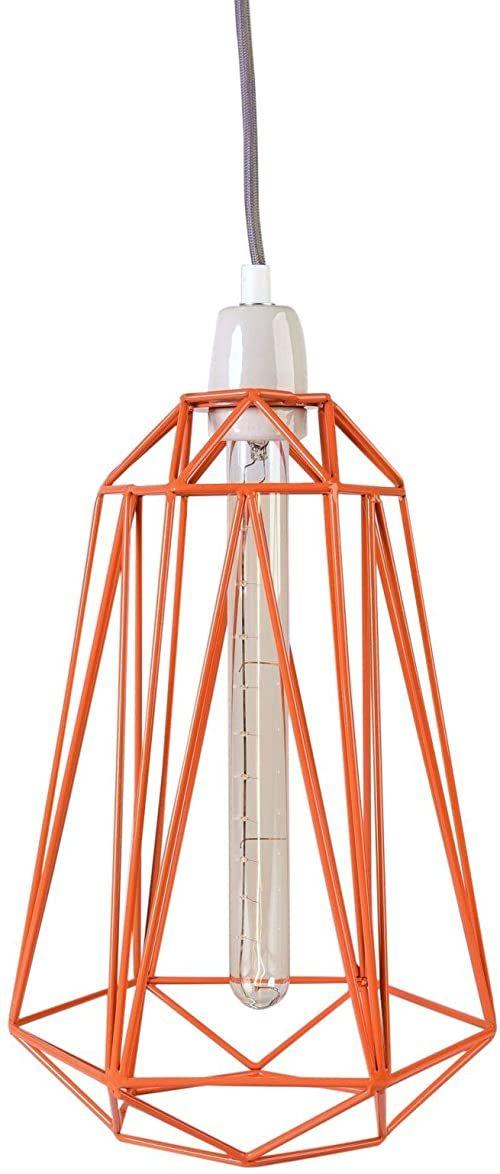 Filament Style 13-P Diamond #5 francuska lampa retro Loft E27, siatka metalowa w kolorze pomarańczowym, kabel tekstylny w kolorze szarym
