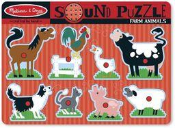 Melissa & Doug puzzle dźwiękowe z drewna  zwierzęta gospodarstwa domowego (8 części)