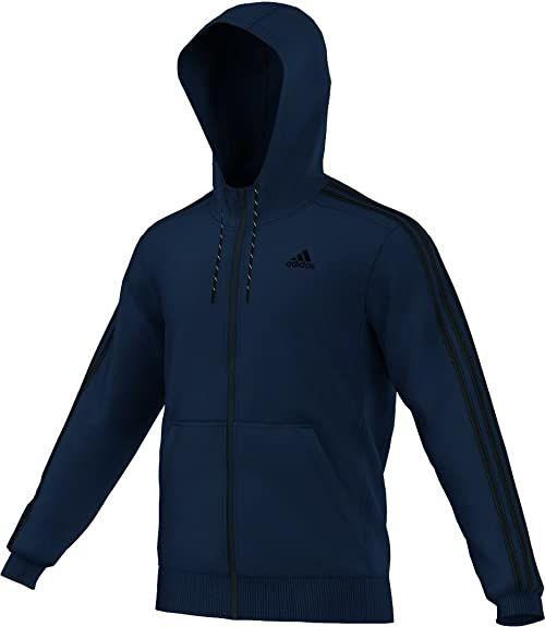 Adidas Męska Essentials 3 paski bluza z kapturem z zamkiem błyskawicznym - kolegiata granatowa/czarna, średnia