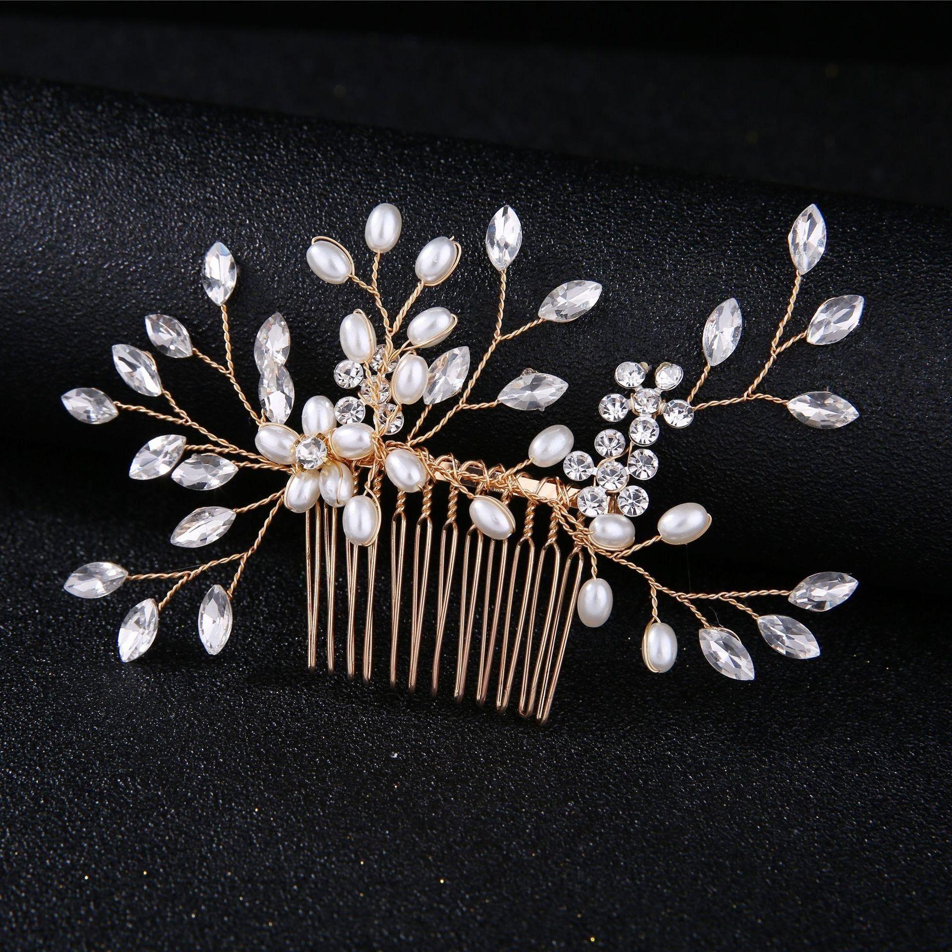 Ozdoba do włosów grzebyk ślubna złota kryształki