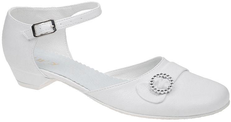 Pantofelki buty komunijne dla dziewczynki KMK 42 Białe - Biały