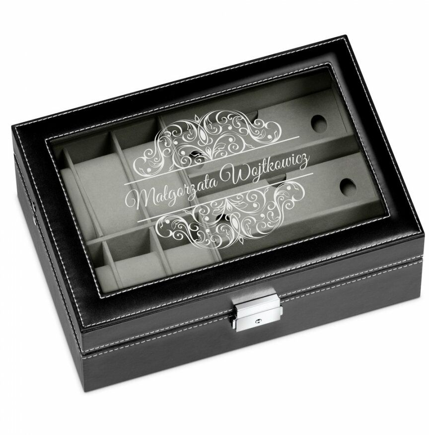 Szkatułka czarna na zegarki i okulary z grawerem dla niej