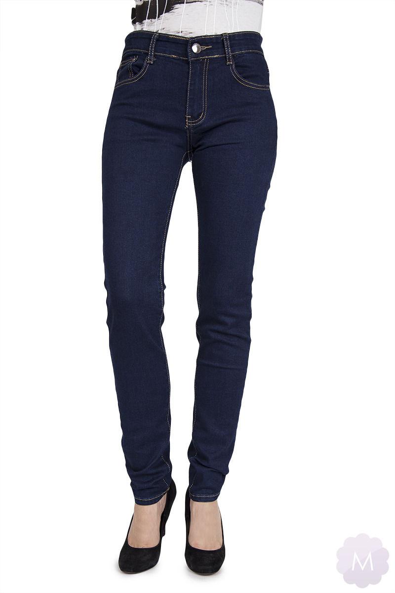 Spodnie jeansy rurki granatowe z wyższym stanem PUSH-UP S657
