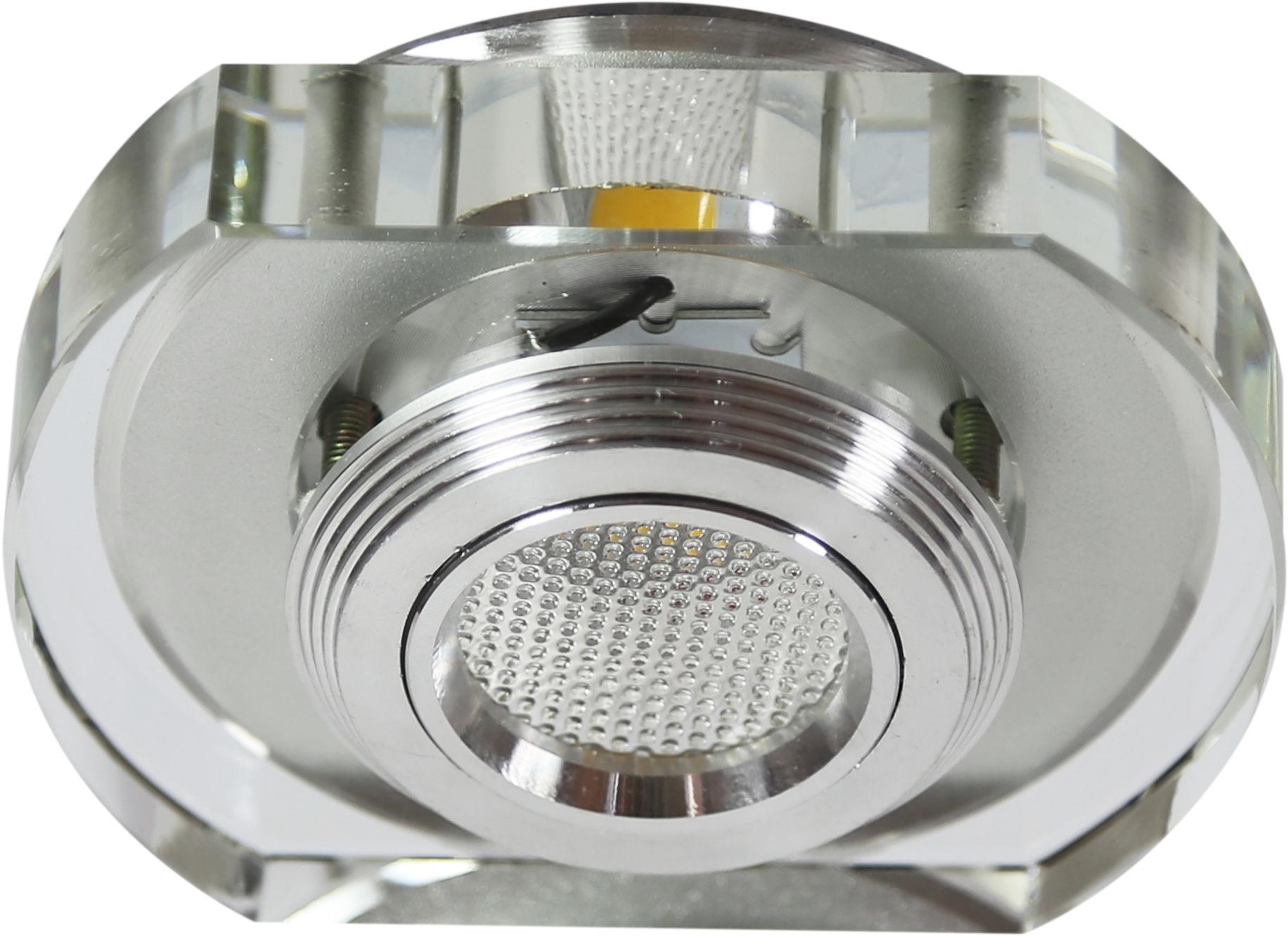 Candellux SS-34 AL/TR 3W LED COB 230V oprawa do wbudowania zaokrąglona szkło bezbarwne 10cm