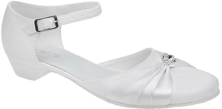Pantofelki buty komunijne dla dziewczynki KMK 90 Białe - Biały