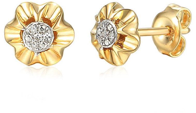 Złote kolczyki 585 kwiatki z diamentami brylanty