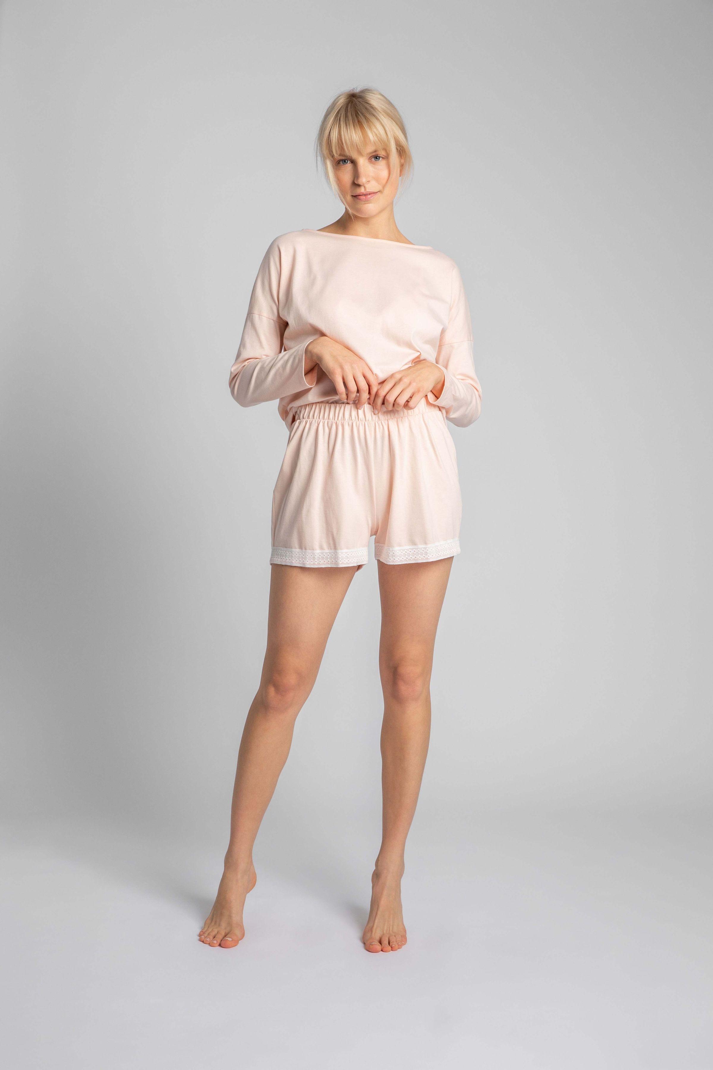 Krótkie spodenki od piżamy z koronką - różowe