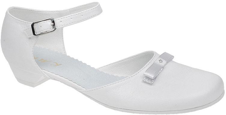 Pantofelki buty komunijne dla dziewczynki KMK 162 Białe kokardka - Biały