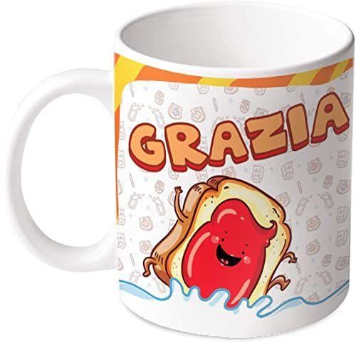 M.M. Group Filiżanka z imieniem i znaczeniem Grazia, 30 ml, ceramika, wielokolorowa