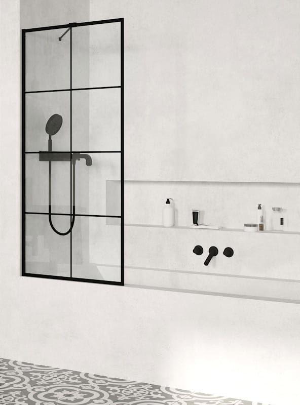 Radaway parawan nawannowy Modo New Black PNJ Factory 90 cm, szkło przejrzyste, wys. 150 cm 10006090-54-55