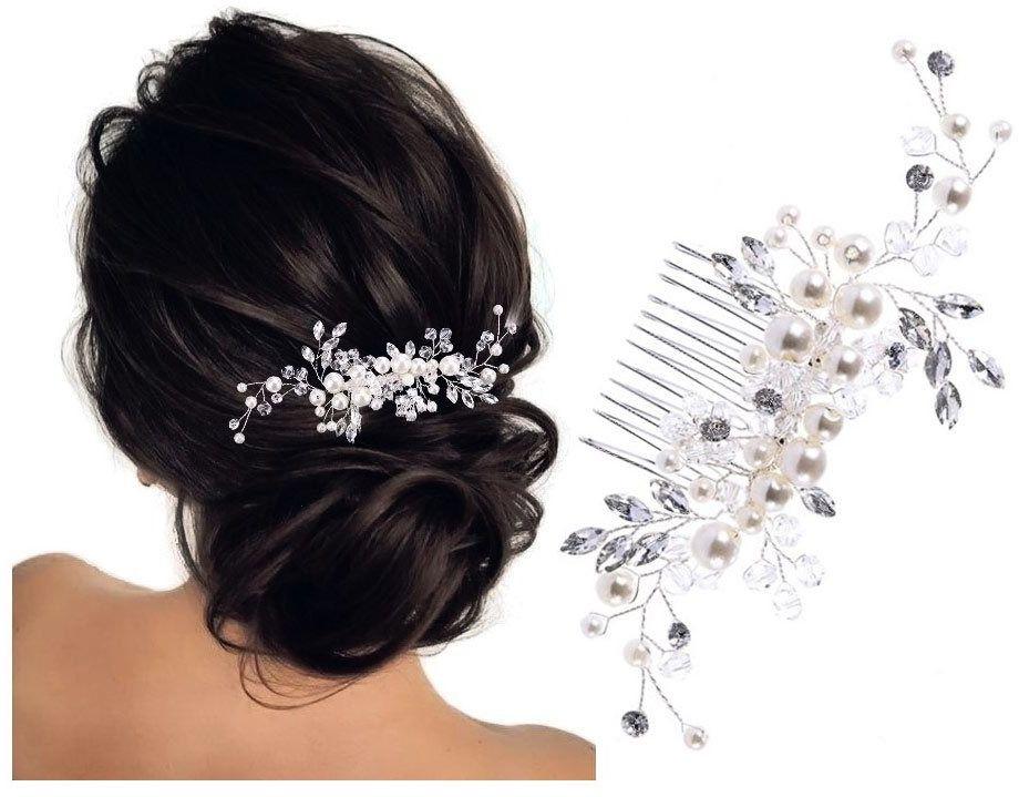 Ozdoba do włosów grzebyk ślubna srebrna kryształki