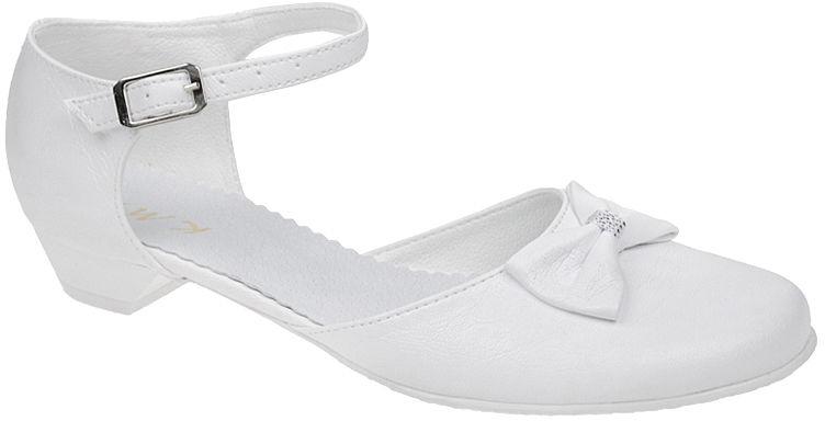 Pantofelki buty komunijne dla dziewczynki KMK 163 Białe - Biały