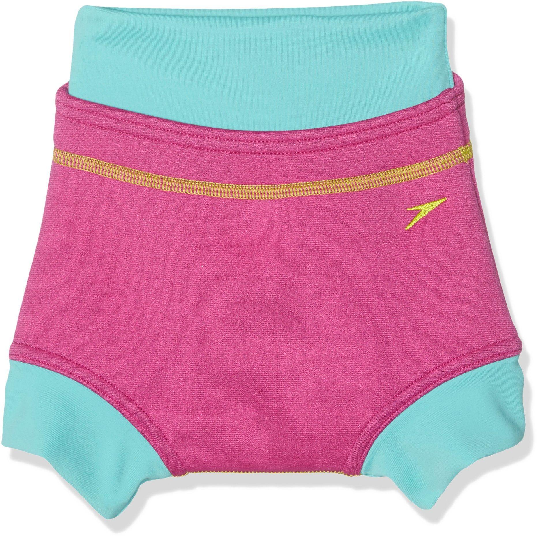 Speedo Dziewczęca kąpielowa poszewka na pieluchy - Vegas Pink / Bali Blue/Lime Punch, 9-12 miesięcy