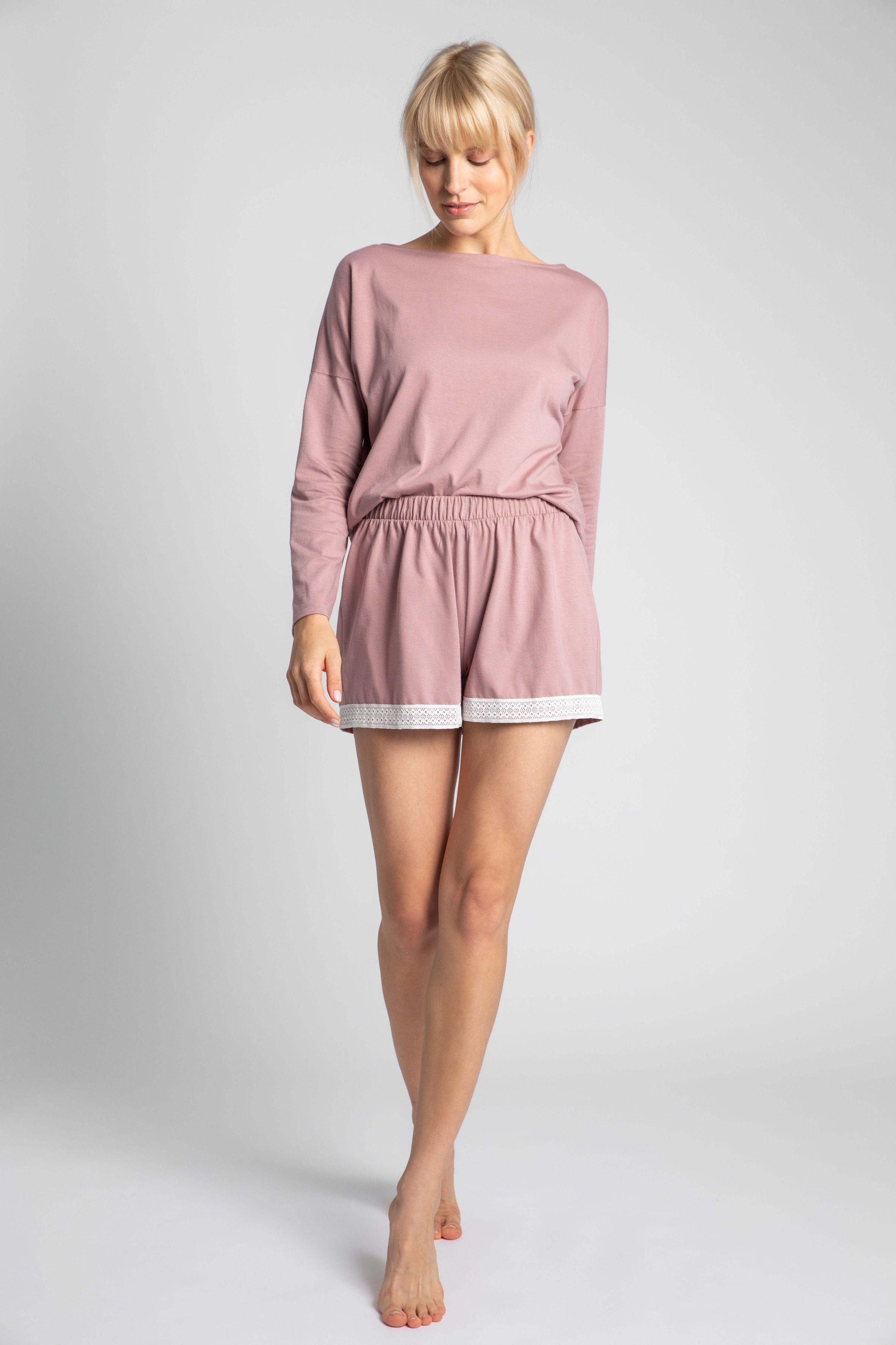 Krótkie spodenki od piżamy z koronką - wrzosowe