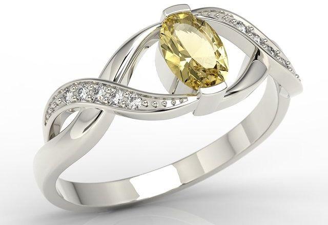 Pierścionek z białego złota z cytrynem i brylantami ap-69b